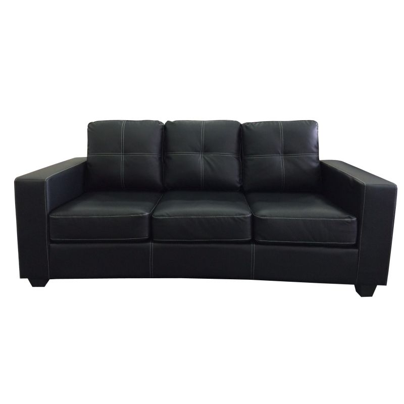 3 Seat Lounge Couch Black PU Leather w White Lining Buy  : SOFNOWBL 3S01 from www.mydeal.com.au size 800 x 800 jpeg 22kB