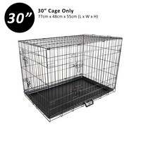 2 Door Collapsible Metal Dog Cage Travel Crate 30in