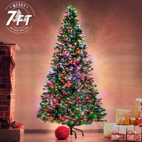 2.1m/7ft Green Christmas Tree Fibre Optic LED Light