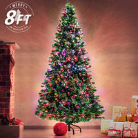 2.4m/8ft Green Christmas Tree Fibre Optic LED Light
