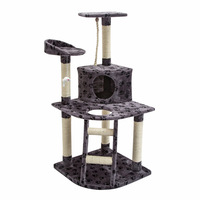 Cat Scratching Post House w/ Ladder Grey Bear 120cm