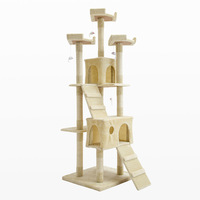 Huge Cat Scratching Tree in Beige w/ 4 Toys 180cm