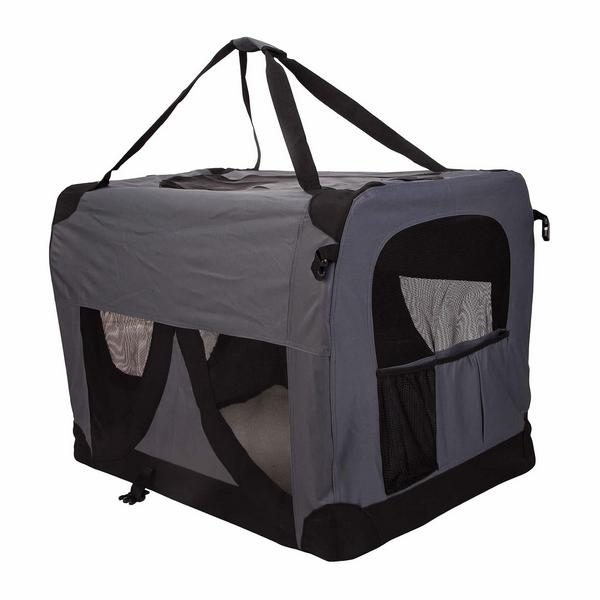 Xl travel cat dog pet soft crate carrier in grey buy pet for Xl dog travel crate