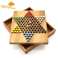 Large Portable Wooden Chinese Checkers Board Game