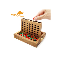 Foldable Wooden 4 In A Row Board Game Set
