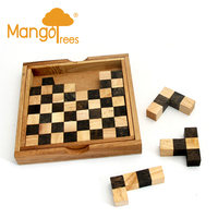 Pentominoes Chess 12pc Wooden Brain Teaser Puzzle