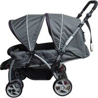 Mamakiddies Double Baby Pram Stroller Grey Burgundy