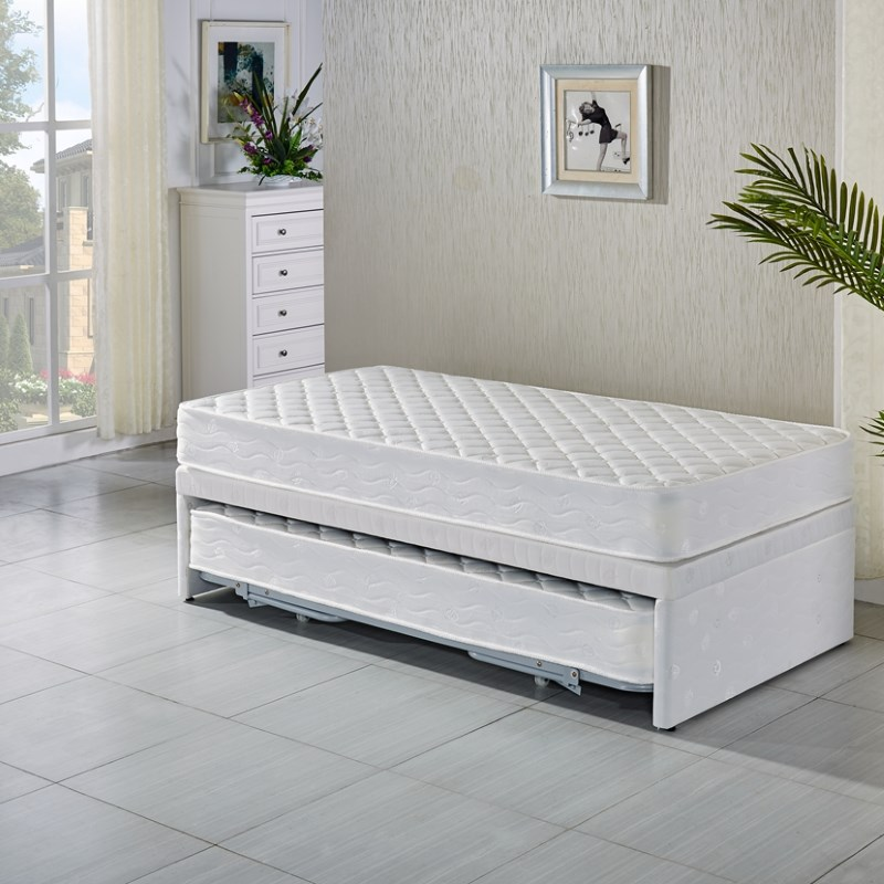 Single white bed frame with trundle 2 mattresses buy for Kids white bed frame