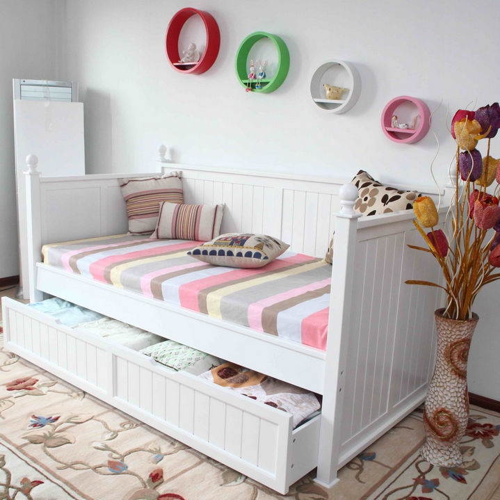 Single Size Day Bed In White With Full Trundle Bed Buy Kids Single Beds