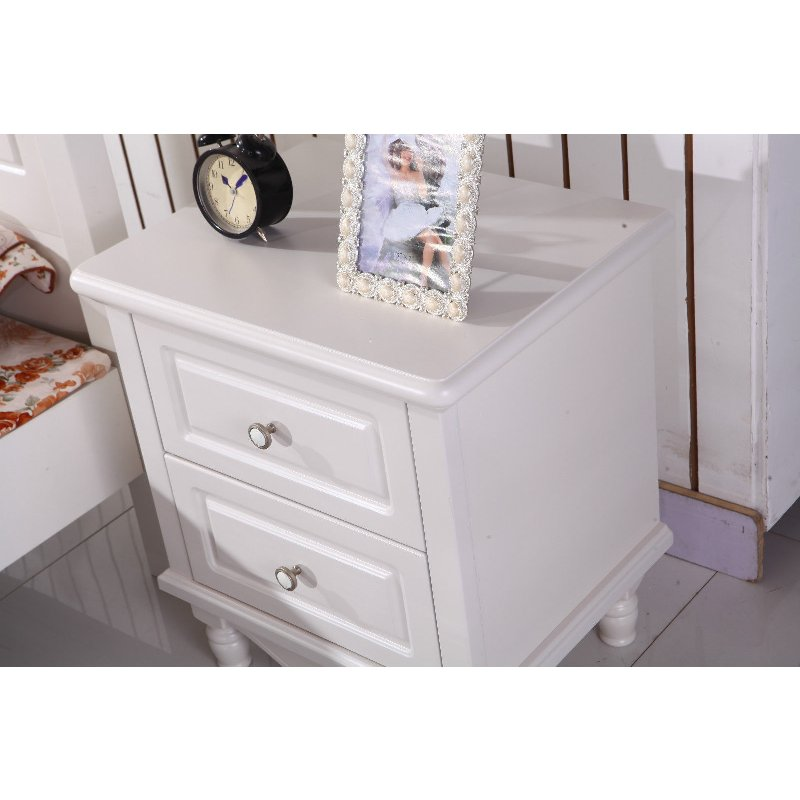 Olivia white oak wooden bedside table w 2 drawers buy for Buy white bedside table
