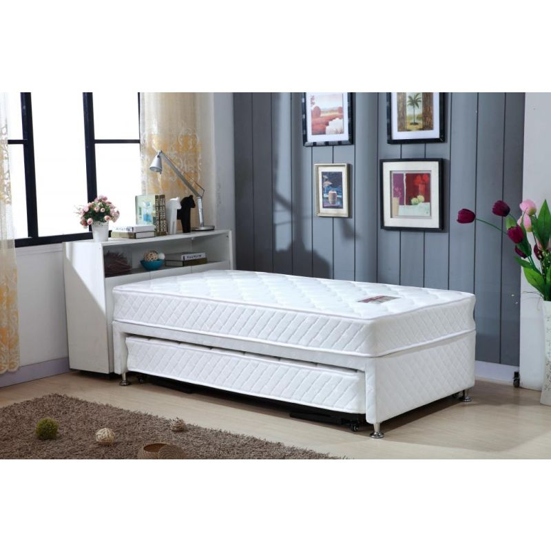 Classic Single Bed With Trundle Bed By Stompa: Single White Bed Frame With Trundle & 2 Mattresses