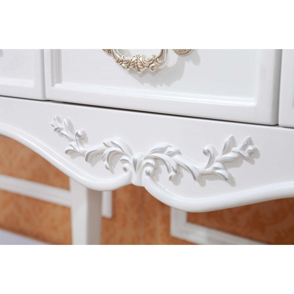 Queen anne french white dressing table with mirror buy for French white dressing table