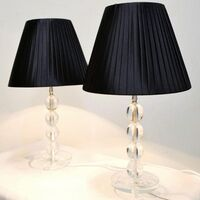2x Modern Bedside Table Lamps - Black Shades