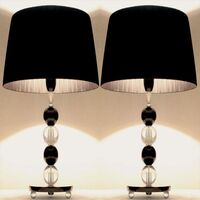 2x Modern Bedside Table Lamps - Two Tone