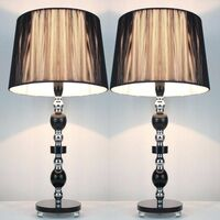 2x Tall Designer Bedside Table Lamps - Black Shade