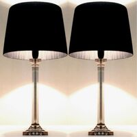 2 Elegant Designer Bedside Lamps with Black Shades