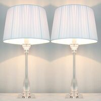 2x Classic Modern Bedside Lamps - White Shades