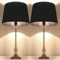 Two Modern Bedside Lamps with Black Shades