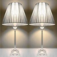 2x Bedside Table Lamps - Silver Shades