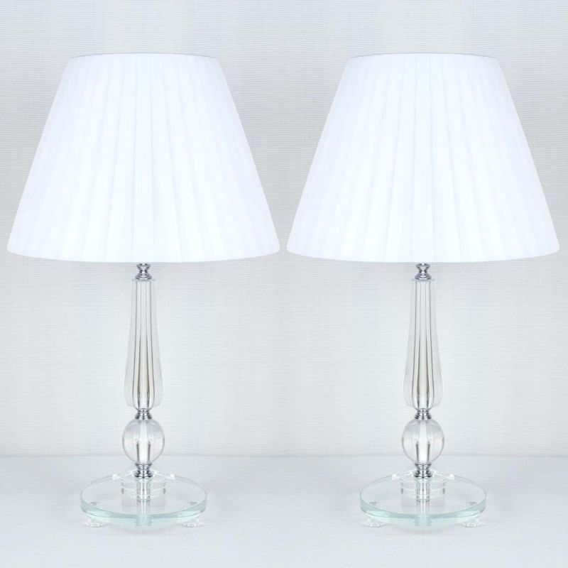2x designer bedside table lamps white shades buy home for Bedside table lamp shades