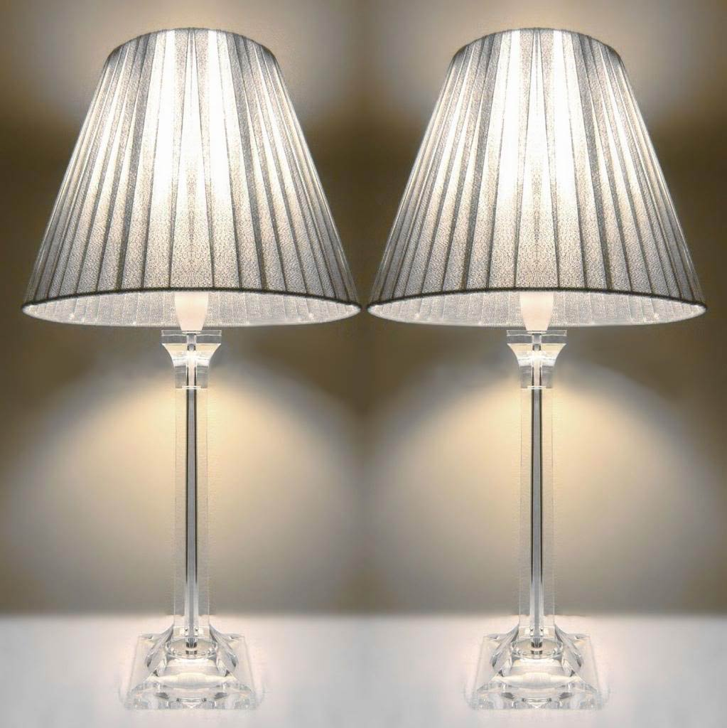 2x bedside table lamps silver shades buy home garden for Bedside table lamp shades