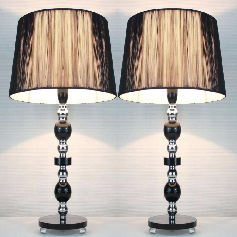 2x tall designer bedside table lamps black shade buy lamps for Bedside table lamp shades