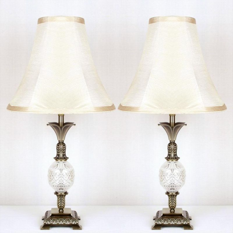 2x vintage bedside table lamps w glass metal base buy intro mails. Black Bedroom Furniture Sets. Home Design Ideas