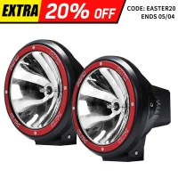 2x HID Offroad Spotlight Driving Light Red 7in 100w