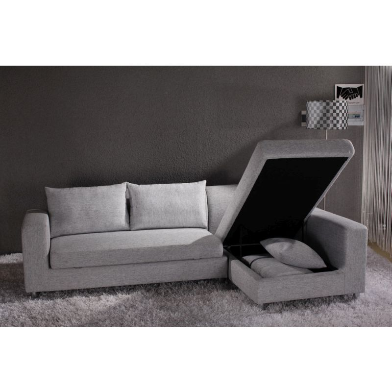 Fabric sofa bed w storage chaise lounge in grey buy sofa for Chaise long sofa bed
