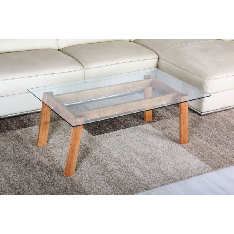 Modern rubberwood coffee table w tempered glass top buy for Tempered glass coffee table