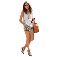 Leopard Print Loose Fit Casual Shorts