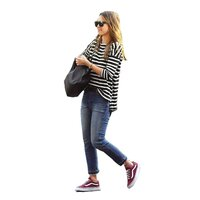 Striped Slouchy T-Shirt, Oversized with Uneven Hem