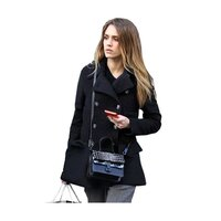 Celebrity Style Double Breasted Short Wool Pea Coat