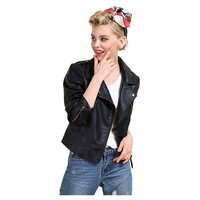 Black Women's Faux Leather Jacket with Gold Zippers