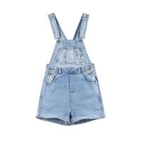 Vintage Denim Overall Shorts in Light Blue Wash