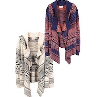 Chunky Tribal Open Front Cardigan