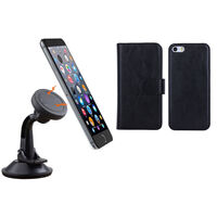 iPhone 6 Black Magnetic Case w Suction Car Holder