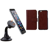 iPhone 6+ Brown Magnetic Case w/ Suction Car Holder