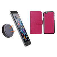 iPhone 6+ Pink Magnetic Wallet Case w/ Phone Holder