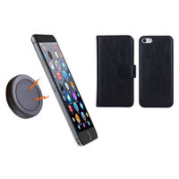 iPhone 6+ Black Magnetic Wallet Case w Phone Holder