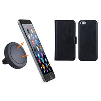 iPhone 6+ Black Magnetic Case w Car Air Vent Holder