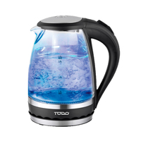 Cordless 1.5L LED Glass Kettle 2200W in Black