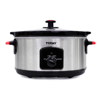 Steel Slow Cooker with Removable Ceramic Bowl 5.5L