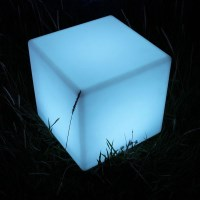 Outdoor Illuminated LED Cube Lamp Chair Stool 40cm