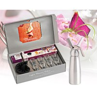 Mastrad Gift Set with Whipper, 8 Glasses & Book