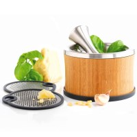 Mastrad 2 in 1 Mortar Grater Set with Bamboo Casing