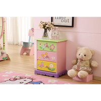 Kids Butterfly Garden 3 Drawer Chest Bedside Table
