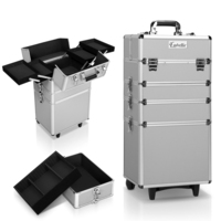 7-in-1 Portable Makeup Cosmetic Wheeled Case Silver
