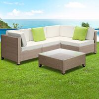 Outdoor Wicker 4 Seat Lounge Set w/ Table Beige
