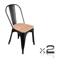 2x Replica Tolix Steel & Wood Dining Chair Black